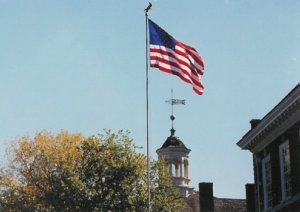Old Glory waves over Independence Hall.