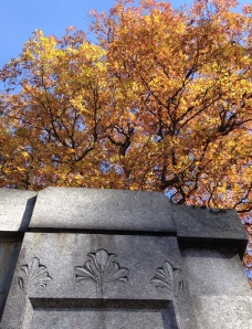 The ornate stone detail seems to go perfectly with the autumn leaves.