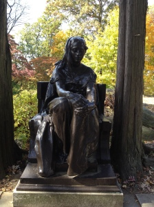 This statue caught my attention, viewing it from behind.  I didn't realize it was a well-known site in the cemetery, until back at home and looking up more info about it.  The statue, according to the Sleepy Hollow Cemetery website, is called The Bronze Lady.
