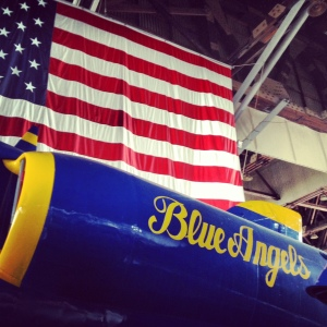 A patriotic museum display of a Blue Angels jet in southern New Jersey.